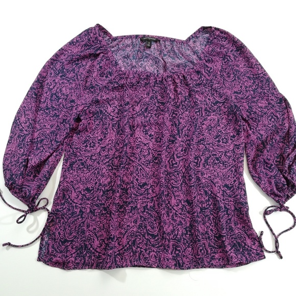 Banana Republic Tops - Banana Republic Navy & Purple Boho Blouse Medium